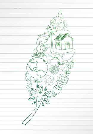 green environment: Selection of hand drawn earth friendly images make up leaf shape. Room for your text on lined paper.