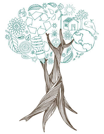 Hand drawn tree with eco doodles making up the leaves.  Vector