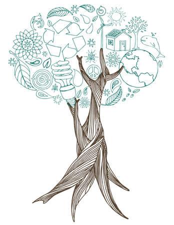 Hand getekende boom met eco doodles die deel uitmaken van de bladeren.  Stock Illustratie