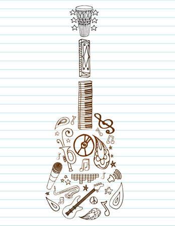 Selectie van hand getrokken muziek doodles make-up deze gitaar, op gelinieerd papier met ruimte voor tekst.