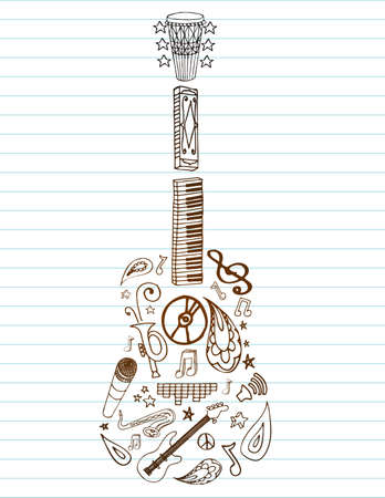 Selection of hand drawn music doodles make up this guitar, on lined paper with room for text.