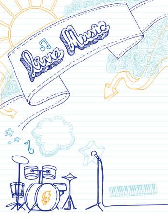 키트: Hand drawn music poster with room for your text.
