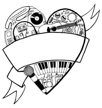 Hand drawn heart full of music images with large banner for your text.  Illustration