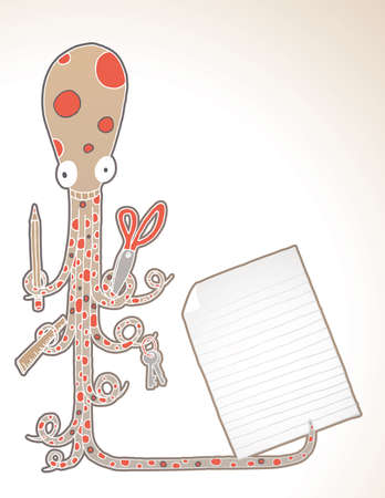 Hand drawn octopus holding school supplies and page for your text.
