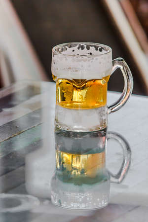 glass of light beer Stock Photo