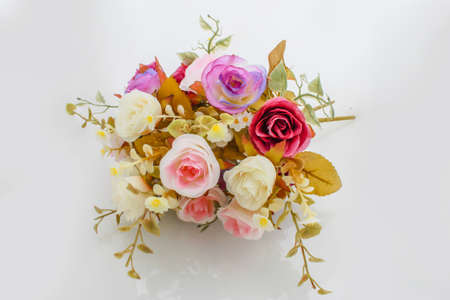 wedding bouquet with rose bush photo