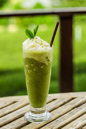 Green tea smoothies Stock Photo