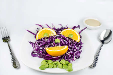 Red Cabbage salad with orange  Stock Photo