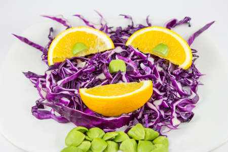Red Cabbage salad with orange  photo