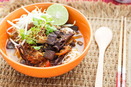rice noodles with spicy pork sauce, thaifood
