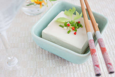 Simple Chinese dish with tofu and vegetable Stock Photo