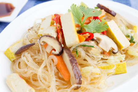 Chinese Cuisine, Crystal Noodles with tofu and mushroom Stock Photo