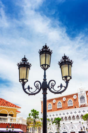 Vintage Outdoor Lamp with blue sky, recorded in Thailand on The Venezia Hua Hin.