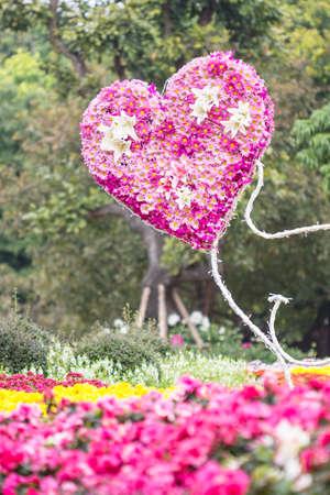 Cuore di fiori in giardino Valentine Love Archivio Fotografico