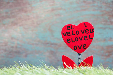 Valentines Day background with flower red hearts  photo
