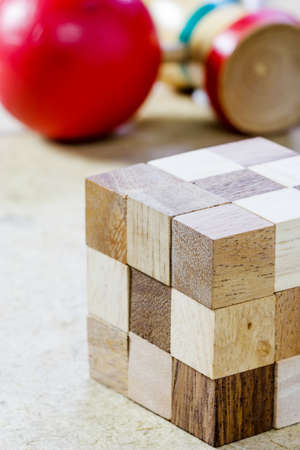 Puzzle Cube in forma di blocchi di legno Archivio Fotografico