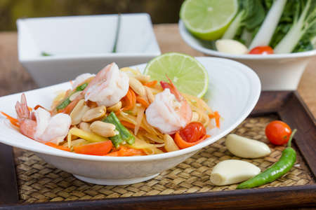 green papaya salad thai food, Thai cuisine  traditional and modern thai food  photo