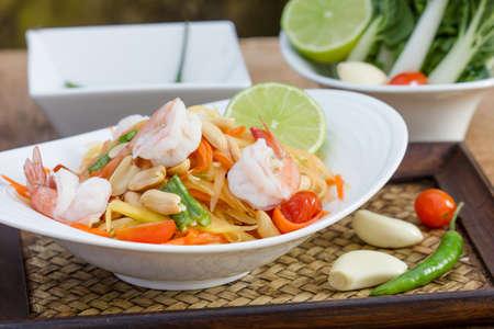 green papaya salad thai food, Thai cuisine  traditional and modern thai food  photo