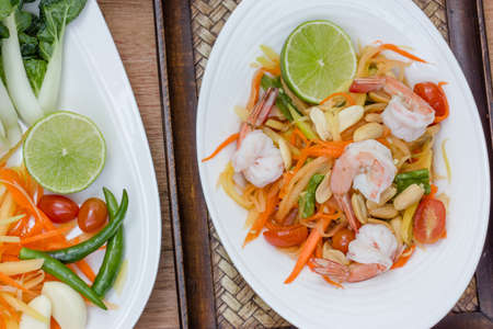 green papaya salad thai food, Thai cuisine  traditional and modern thai food  Stock Photo - 25717668