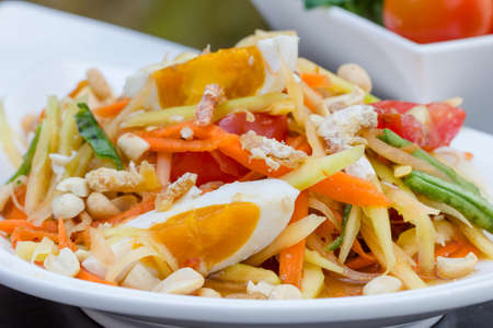 green papaya salad with salted egg thai food, Thai cuisine Stock Photo - 25788757