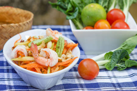 green papaya salad thai food, Thai cuisine  photo