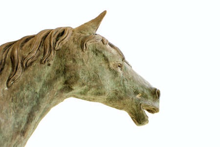gait: statue of a horse isolated on a white background Stock Photo