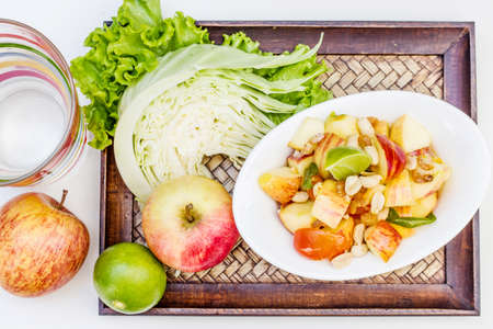 Red apple salad thai food  Thai cuisine  traditional and modern thai food  photo
