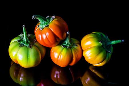 Colorful melanzana verdura su sfondo nero Archivio Fotografico