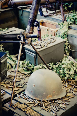 warheads: Old military helmet and bullets