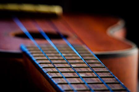 Ukulele fretboard, part of ukulele hawaiian guitar photo