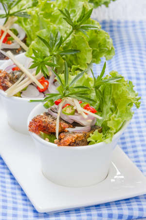 Fried century egg Salad or Yum  Thaifood photo