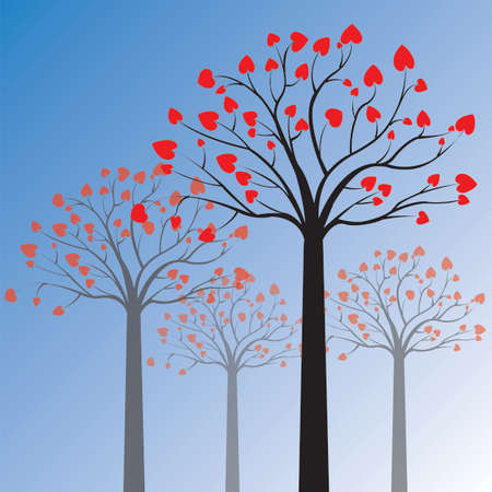 Abstract tree made with hearts