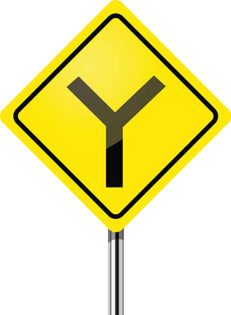 two way traffic: Y fork junction sign