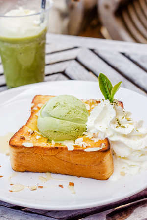 Honey toast ,green tea Ice cream and whipping cream