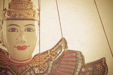 marioneta: Mu�ecas tradici�n cuerdas de marionetas de Myanmar Foto de archivo