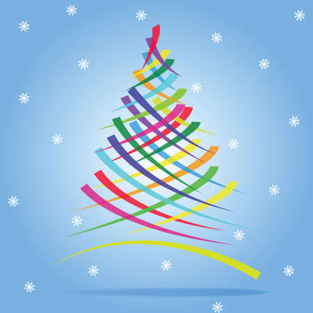 christmas tree illustration: Colorful Christmas tree illustration.