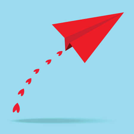 Red paper airplanes heart in the blue sky  Vector