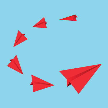 Red paper airplanes illustration Vector