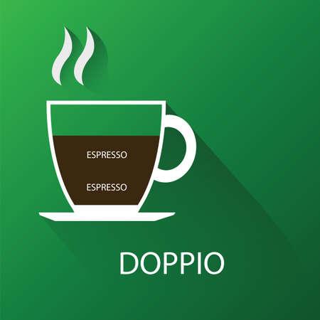 arabica: Type of coffee doppio coffee.  Illustration