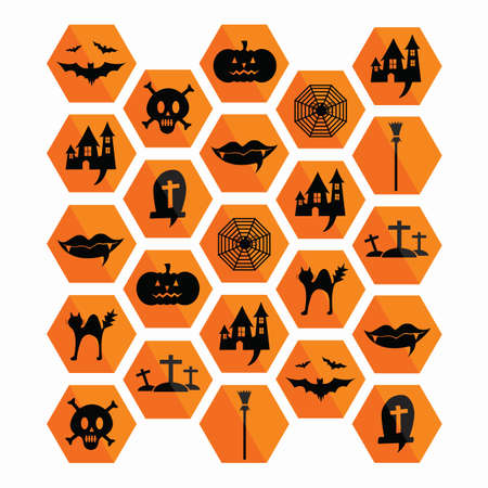 Collection of halloween icons. . Vector