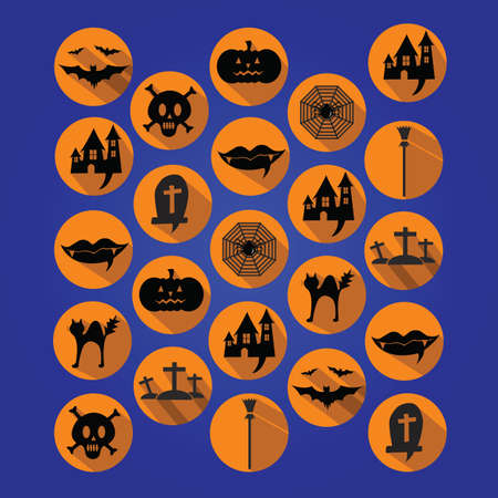 wicked set: Collection of halloween icons.  Illustration