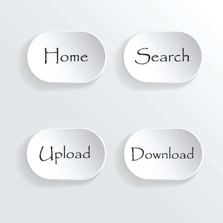 Set of grey buttons for website or app. Vector