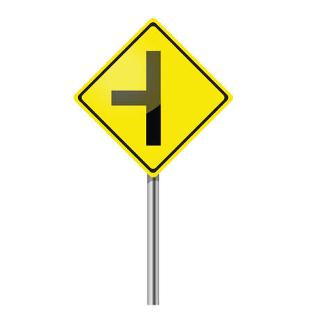Three junction road traffic sign Vector
