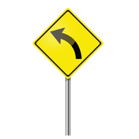 curve ahead sign: Yellow Curve Sign Illustration