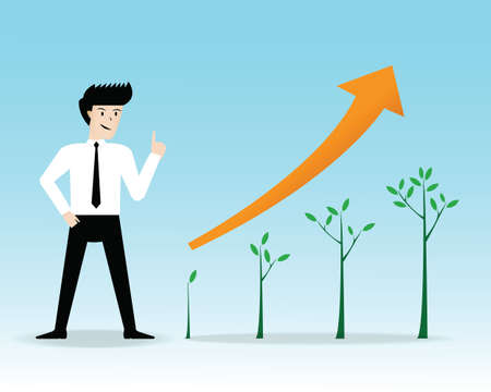 Businessman present growing trees business. vector illustration Vector