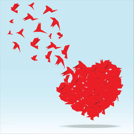 Red heart with origami bird vector illustration.