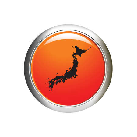 honshu: map of Japan icon. Internet button. vector illustration
