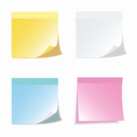 Set of colorful vector sticky notes.transparent shadows Vector
