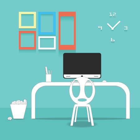 Flat design vector illustration of modern office interior Vector