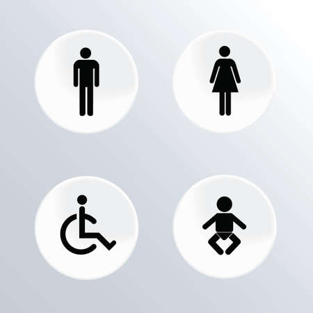 Set of toilet round buttons for website or app. Vector illustration Vector